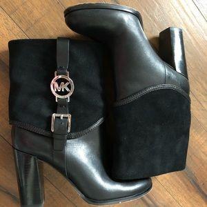 Women MK Michael Kors Leather Booties Black